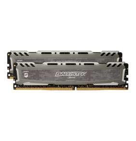 16GB (2x8GB)DDR4 3200 MT/s (PC4-25600) CL16 SR x8 Crucial Ballistix Sport UDIMM 288pin, grey