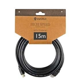 4World Kabel HDMI - HDMI High Speed s Ethernet (v1.4), 3D, HQ, BLK, 15m