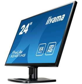 """24"""" LCD iiyama X2481HS-B1 - VA, 6ms, 250cd/m2, 3000:1 (12M:1 ACR), VGA, DVI, HDMI, repro"""