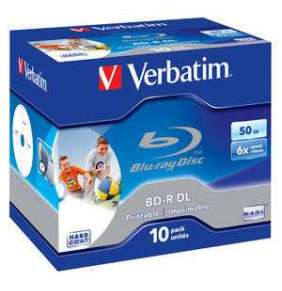 VERBATIM BD-R DL 50GB, 6x, printable, jewel case 10 ks