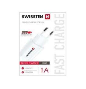 SWISSTEN TRAVEL CHARGER WITH USB 1A POWER WHITE
