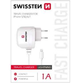 SWISSTEN TRAVEL CHARGER FOR APPLE IPHONE 5/6 1A POWER WHITE
