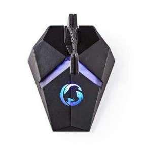 Nedis GMBEU3100BK - Držák Kabelu Herní Myši  |  3 USB porty  |  Pružná svorka  |  Podsvícení