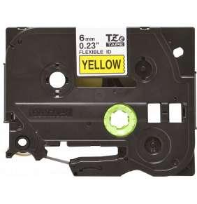 Brother - TZe-FX611,  žlutá / černá, 6 mm,  s flexibilní páskou