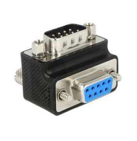 Delock adaptér Sub-D 9 pin samec   samice 270° pravoúhlý matice a šroub měnitelné