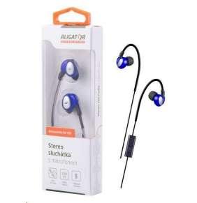 Aligator stereo sluchátka AE03 s mikrofonem, 3,5 mm jack, modrá
