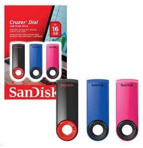 SanDisk Flash Disk 16GB Cruzer Dial (3-pack, 3x 16GB) USB 2.0, modrá, růžová, černá