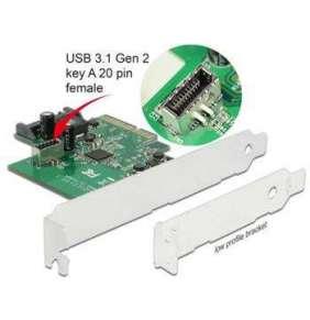 Delock PCI Express Karta   1 x interní USB 3.1 Gen 2 key A 20 pin samice
