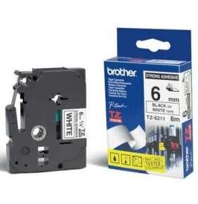BROTHER extrémně přilnavá páska TZE-S211/ bílá-černá/ 6mm