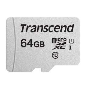 Transcend 64GB microSDXC 300S UHS-I U1 (Class 10) paměťová karta (s adaptérem)