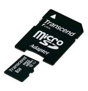Transcend 8GB microSDHC UHS-I 400x Premium (Class 10) paměťová karta (s adaptérem)