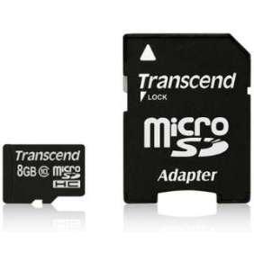 Transcend Pamäťová karta Micro SDHC 8GB Class 10 + Adaptér