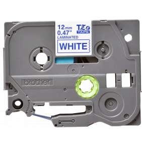 Brother - TZe-233, bílá / modrá (12mm, laminovaná)